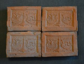 4 Rare Fireplace Tiles With A Decor Of Cotes Of Arms Belgium Dated 1578 photo