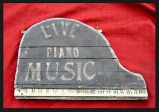 Old Antique Trade Sign Grand Piano Music Tavern Bar Saloon Folk Art Sig photo