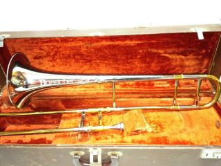 Antique Buescher Aristocrat Trombone Horn 372295 Mouthpiece & Wood Case Nr photo