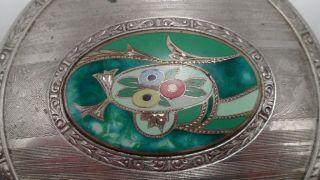 Art Deco Powder Dresser Box - Pinstripe Etched Glass W/ Enameled Silver Lid photo