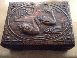Arts & Crafts Period Copper Relief Over Wood Box Swans On A Lake photo