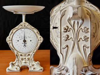 Antique,  Shabby Chic,  Vintage,  Old German Kitchen Scale - Flowers photo