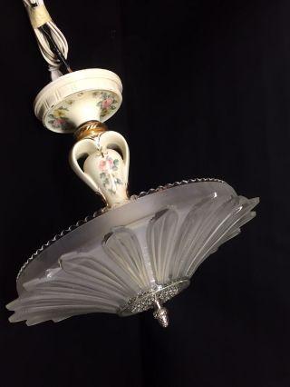 Vintage Porcelier 1930s Porcelain & Glass Ceiling Light Fixture Chandelier Shade photo