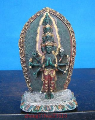 Antique Handmade Statue India Thousands Hands Buddha Turquoise photo