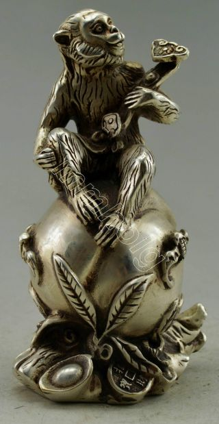 Collectible Decorated Old Handwork Silver Plate Copper Monkey Ruyi Peach Statue photo