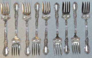 9 Vintage Roger & Bro.  A1 Silverplate 6 Inch Salad Forks Pat 09 Ornate Flowers photo