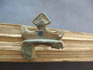 Two Colours Enameled Lunar Amulet Ancient Celtic Druids Pendant 600 - 400 Bc. photo