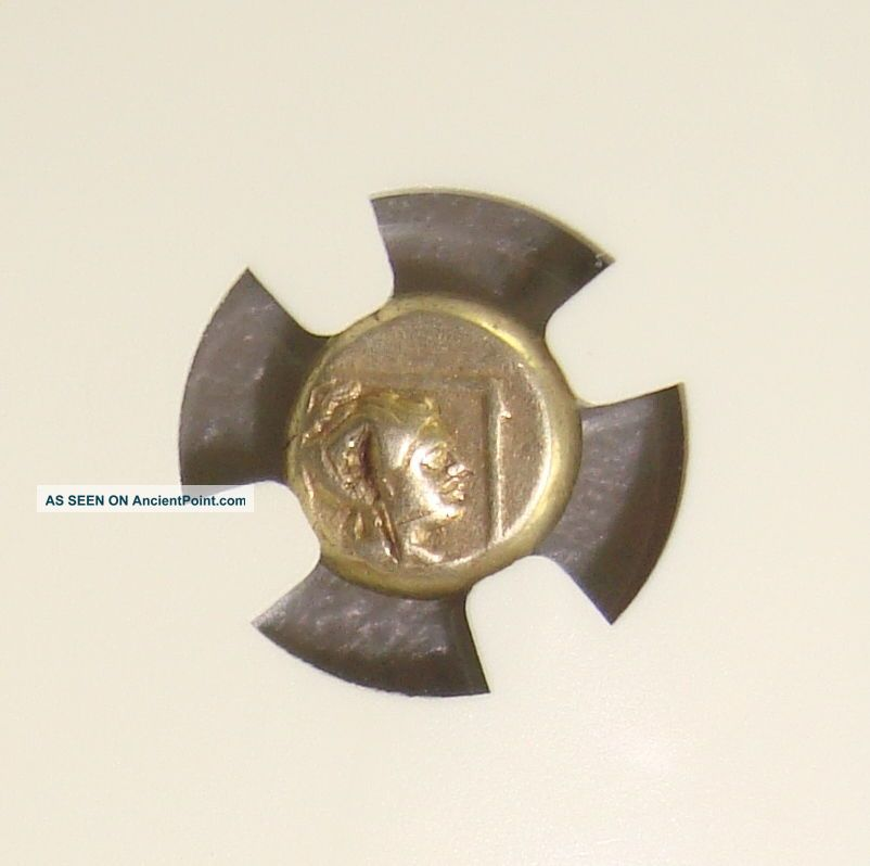 377 - 326 Bc Lesbos,  Mytilene Ancient Greek Electrum 1/6 Stater (hecte) Ngc F Greek photo