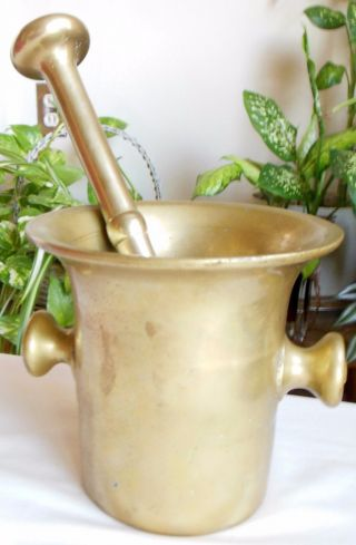 "Antique Brass Mortar & Pestle Singer's Pharmacy Nyc 6"" Tall Heavy photo"