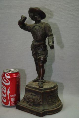 Antique Bronzed Spelter Clock Topper Statue Figurine Spaniard Man Ornate 13.  5