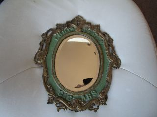 Antique Vintage Victorian Ornate Brass / Iron Vanity Mirror Louis James Cigars photo