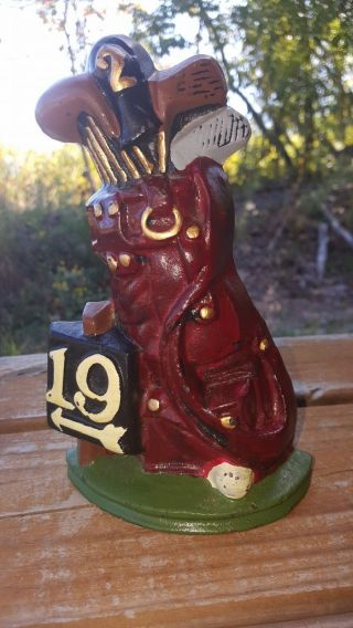 Cast Iron 19th Hole Golf Club Bag Bookend / Door Stop,  Hand Painted photo