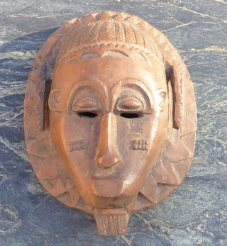 Good Heavy West African Tribal Art Baule Mask No Senufo Dan Yoruba Mossi Club Nr photo