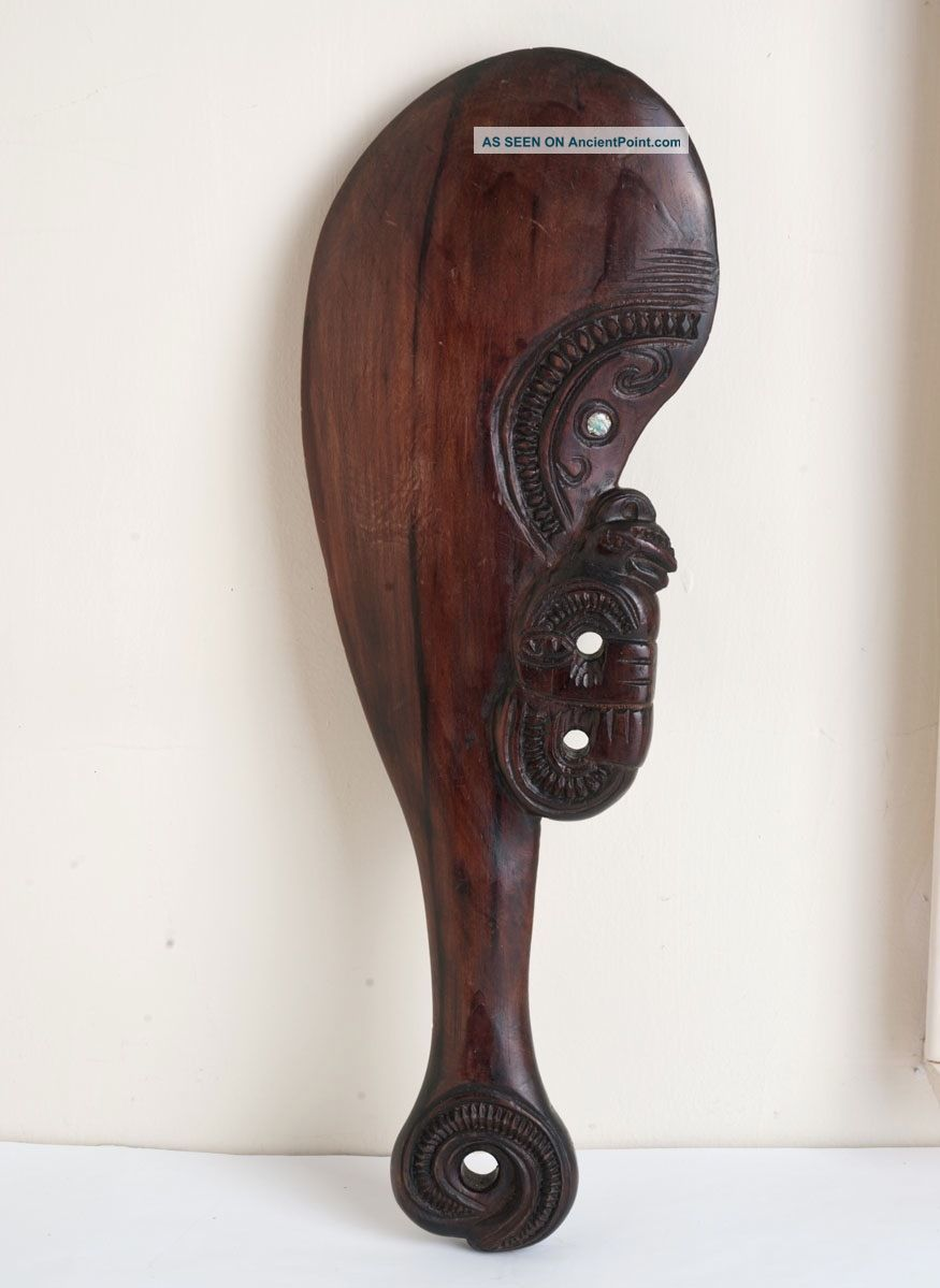 Vintage Zealand Maori Carved Wood Patu Tiki Wahaika Paua Shell Inlay Club Pacific Islands & Oceania photo