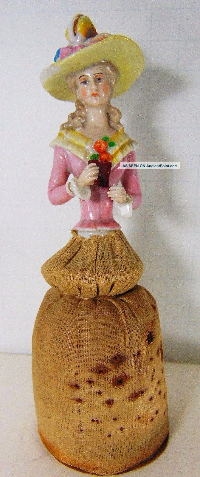 Antique Vtg Porcelain Half Doll Pincushion Bonnet Flower Binocular Ernst Horse R Pin Cushions photo