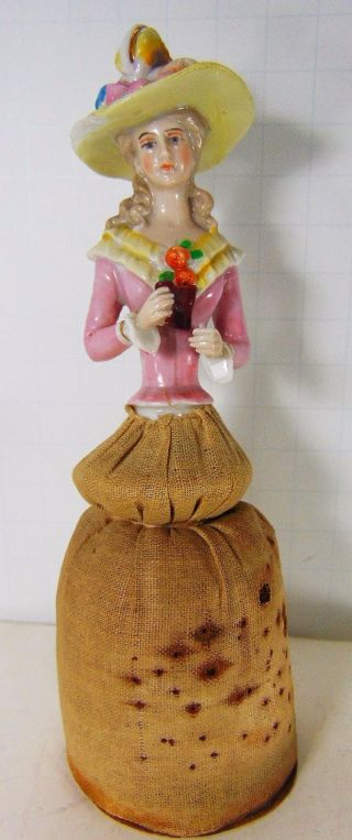 Antique Vtg Porcelain Half Doll Pincushion Bonnet Flower Binocular Ernst Horse R photo