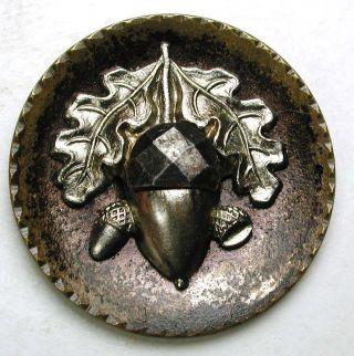 Antique Brass Button W/ Cut Steel Acorn & Oak Leaves Design - 1