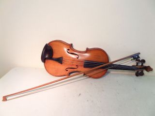 Old Antique 4/4 Violin One Piece Back,  Bow (stamped X V) No Name Lovely Colour photo