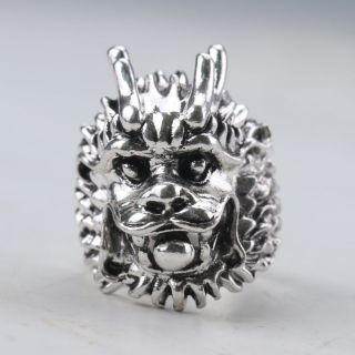 Chinese Exquisite Tibet Silver Handwork Lion Head Ring Z178 photo