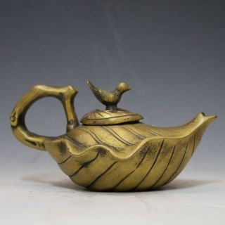 Chinese Brass Hand - Carved Leaves Shape Teapot W Qianlong Mark Csyb297s photo