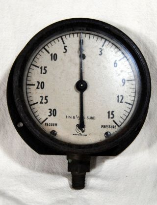 Ashcroft Gauge Pressure Water Air Steam Industrial Usa Steampunk Parts Old 2 Lb, photo