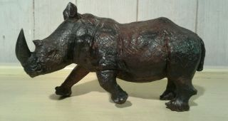 Antique African Hardwood Carved Rhino photo