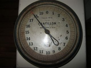 Vintage Antique Blue Chatillon Country Store Hanging Scale 1931 photo