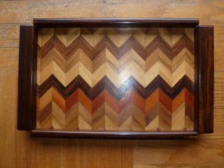 Authentic Don S.  Shoemaker Wood Parquet Tray W/chevron Pattern,  Mid - Cent.  Modern photo