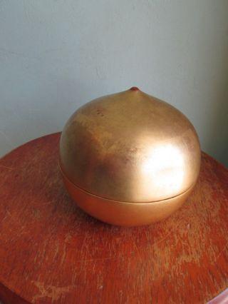 Mid Century Modern Lacquered Gold W/confetti Multi Color Lined Ball Box photo