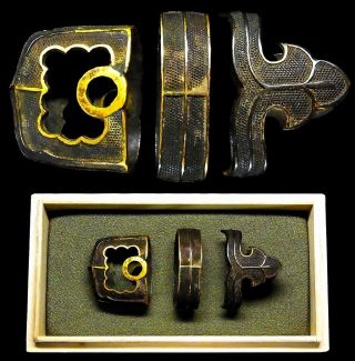 Han - Tachi Koshirae Fuchi/kashira 18 - 19th C Japanese Antique Sword Fittings C890 photo
