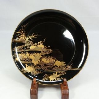 D978: Japanese Old Lacquer Ware Plate With Holy Tortoise Makie 4/5. photo
