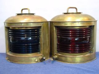 Pair Huge Vintage Brass Perko Marine Ship Port/starboard Lamps,  15
