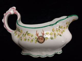 Gorgeous Antique Charles Ahrenfeldt Limoge Equestrian Christmas Style Gravy Boat photo