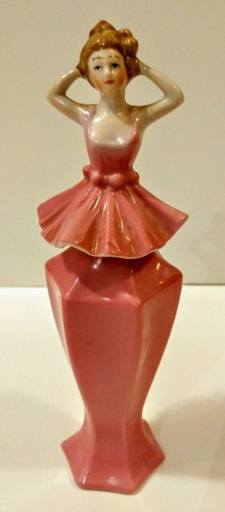 Art Deco Bavaria Ballerina Perfume Bottle/ Rare Antique Pink Porcelain Figure photo