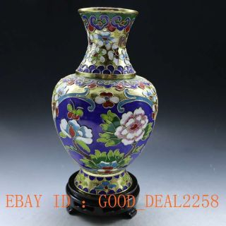 Chinese Handwork Brass Cloisonne Peony Vase photo