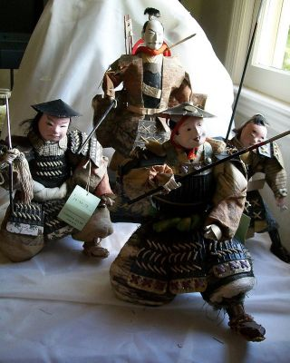Unusual 4 Vintage Kabuto War Samurai Display Dolls Royal Guards Glass Eyes photo