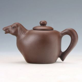 Collectable Yixing Sand - Fired Handwork Horse Teapot D908 photo