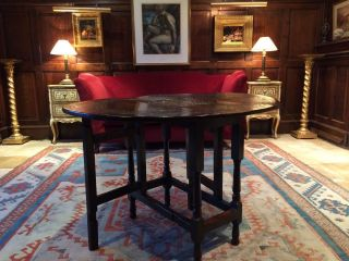Stunning Antique Dining Table Carved Console Solid Oak George Iii 18th Century photo