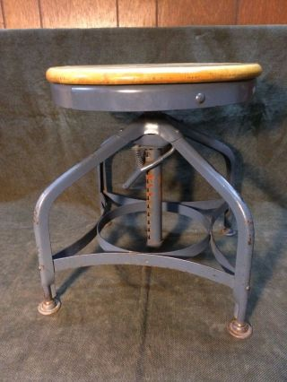 Vintage Toledo Steel Industrial Drafting Stool Short,  Draftsman photo