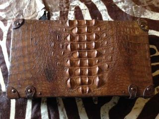 Antique Alligator/crocodile Suitcase/ Luggage/ Briefcase Decorator Piece photo
