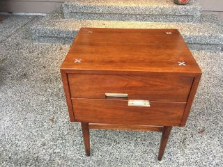 Vintage Mid Century Modern American Of Martinsville Inlaid Nightstand L@@k photo