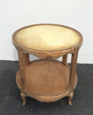 Rustic Vintage Leather Top Side Table French Provincial Two Tier Carved Wood photo