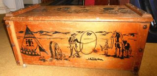 Vintage Cowboy & Indian Western Toy Box Wood / Wooden Chest Trunk W Rope Handles photo