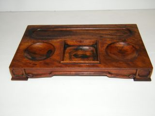 Antique Doten Dunton Wood Desk Tray Fountain Pen Inkwell Holder Office Furniture photo