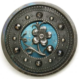 Antique Steel Cup Button Flower Over Blued Liner Cut Steel Accents - 1 & 3/16