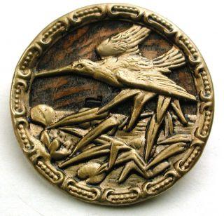 Lg Sz Antique Woodback Brass Button Crane Over Marsh Design - 1 & 5/16