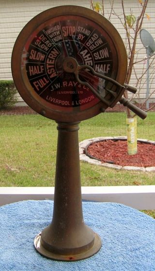 Vtg Retired J.  W.  Ray Co.  England Brass Ships Engine Room Marine Telegraph - - L@@k photo