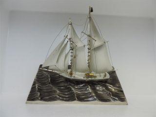 Solid Sterling Silver Yacht Ship Sailboat By Seki Japan Scrap 200 Grams 7 Oz Nr photo