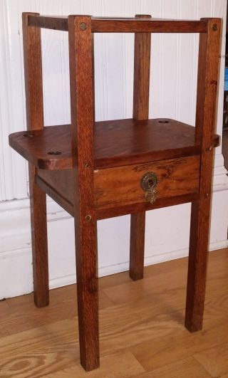 Antique Mission Arts & Crafts Quarter Sawn Oak Smoking Pipe Stand Cabinet photo