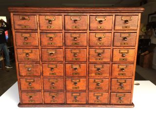 Antique Quarter - Sawn Oak Library Bureau Sole Makers 30 Drawer Index File Cabinet photo